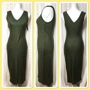 Green body con midi length sleeveless dress SZ S-M